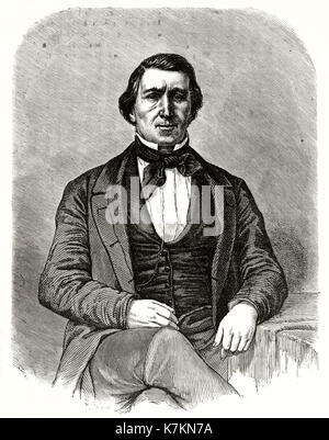 Old engraved portrait of Brigham Young (1801 - 1877), Mormon leader. By Mettais after Remy, publ. on Le Tour du - Stock Photo