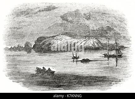Old view of Alderney island, Channels Islands. By unidentified author, publ. on The Penny Magazine, London, 1837 - Stock Photo