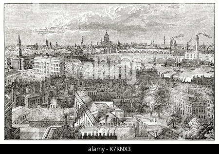 Old view of London from the York column. By unidentified author, publ. on The Penny Magazine, London, 1837 - Stock Photo