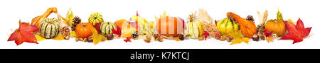 Colorful autumn decoration with leaves, pumpkins and more, isolated and extra wide format as banner or border - Stock Photo