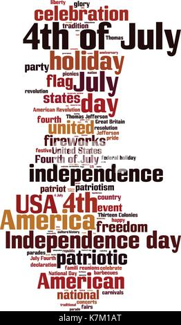 4th of July word cloud concept. Vector illustration - Stock Photo