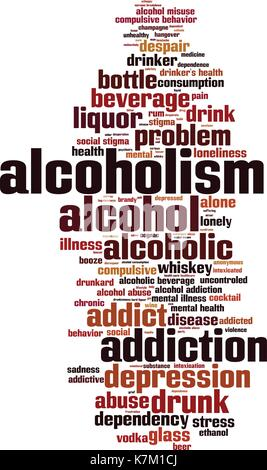 Alcoholism word cloud concept. Vector illustration - Stock Photo