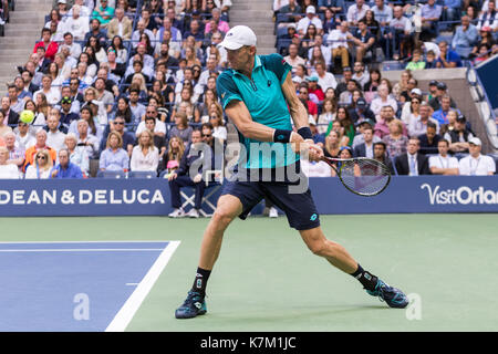Kevin Anderson (RSA) runner up in the Men's Singles Final  at the 2017 US Open Tennis Championships - Stock Photo