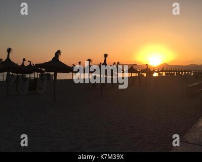 Sunset in Playa de Palma, Mallorca - Stock Photo