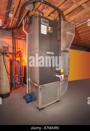 Modern heating system with pipes in a apartment building for Forced hot air heating systems