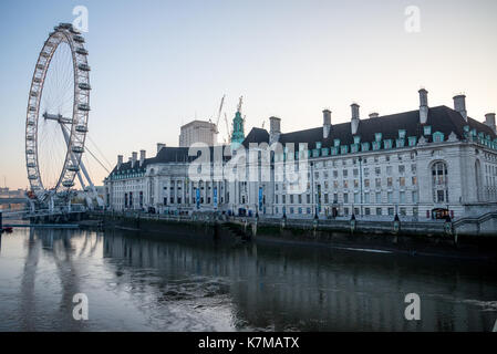 Queen's Walk, London Eye and County Hall River Building early in the morning, England - Stock Photo