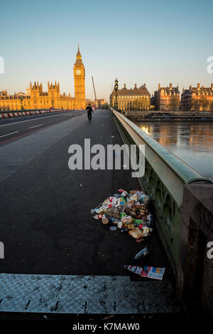 A pile of garbage left on Westminster Bridge in London early in the morning, England - Stock Photo