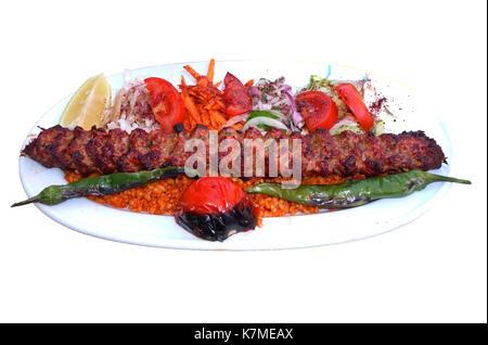 Turkish kebab isolated on white background - Stock Photo