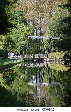 Crofts Mill Lift Bridge over the Montgomery canal. - Stock Photo