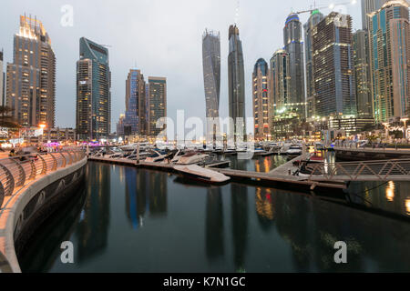 Marina, skyscraper at dusk, Dubai Marina, Dubai, United Arab Emirates - Stock Photo