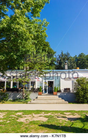 Front entrance of the Rusalka restaurant at a park on a sunny day on August 2017 in Poznan, Poland - Stock Photo