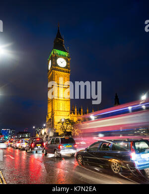 Big Ben, Houses of Parliament, Light Traces, Night Scene, City of Westminster, London, Region London, England, Great - Stock Photo