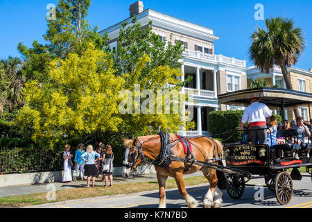 Charleston South Carolina SC waterfront The Battery historic home architecture guided tour horse-drawn carriage - Stock Photo