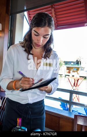 South Carolina, SC, Mt. Pleasant, Shem Creek, waterfront, R.B.'s Seafood Restaurant, dining, adult adults woman - Stock Photo