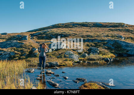 Young woman hiking with backpack in Swedish wilderness - Stock Photo