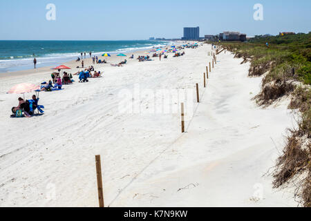 Myrtle Beach South Carolina SC Atlantic Ocean Myrtle Beach State Park sand fishing pier dune sunbathers - Stock Photo