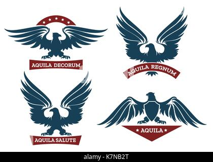 Eagle Wing Ribbon Banner Emblem Design Stock Vector Art