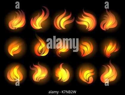 Set of fire flames drawn in cartoon style. Vector Illustration. - Stock Photo