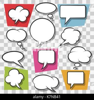Blank speech bubbles drawn in pop art style on transparent background. Vector illustration - Stock Photo