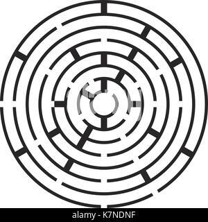 round maze, labirynth vector symbol icon design. Beautiful illustration isolated on white background - Stock Photo