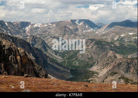 A view of Montana's Beartooth Mountains from the Beartooth Highway (US Route 212) very near to Beartooth Pass.  - Stock Photo