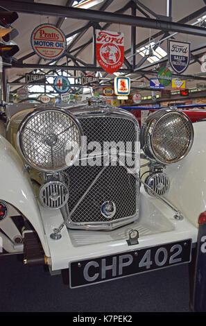 SS Jaguar 100 1930s - Lakeland Motor Museum. Backbarrow, Ulverston, Lake District, North West England - Stock Photo