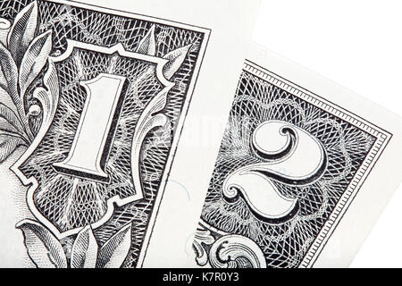 Stecked shot with one and two US dollars isolated. High resolution photo. - Stock Photo