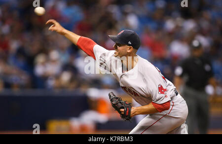 St. Petersburg, Florida, USA. 16th Sep, 2017. WILL VRAGOVIC | Times.Boston Red Sox starting pitcher Rick Porcello - Stock Photo