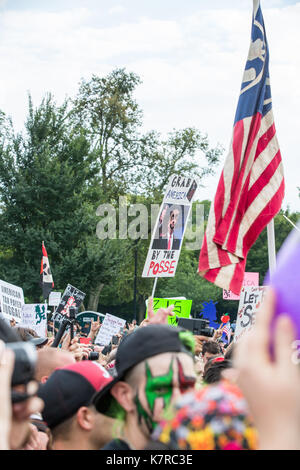 WASHINGTON, DC - September 16, 2017: Fans of the music group 'Insane Clown Posse,' called Juggalos, gathered in - Stock Photo