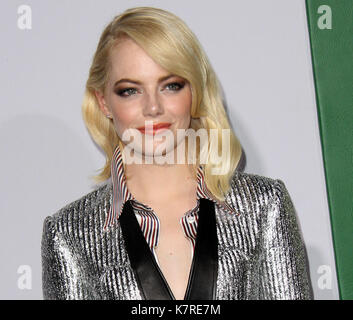 Los Angeles, CA, USA. 16th Sep, 2017. 16 September 2017 - Beverly Hills, California - Emma Stone. 'Battle Of The - Stock Photo