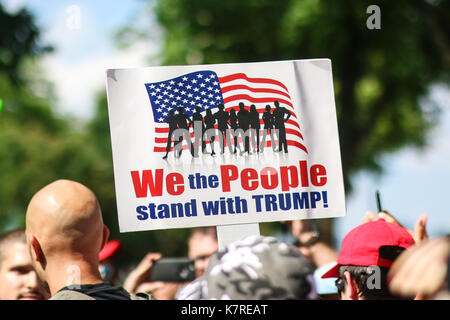 Washington, DC - September 16, 2017: Protesters gather on the National Mall for a protest in support of President - Stock Photo