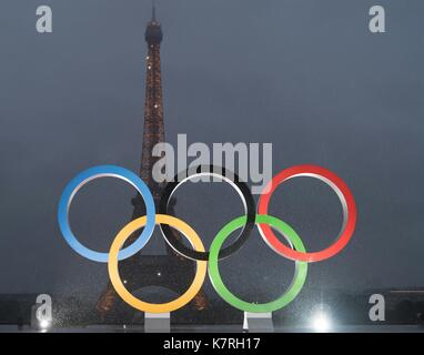 Beijing, France. 13th Sep, 2017. The Olympic rings are seen in a celebration of the International Olympic Committee's - Stock Photo
