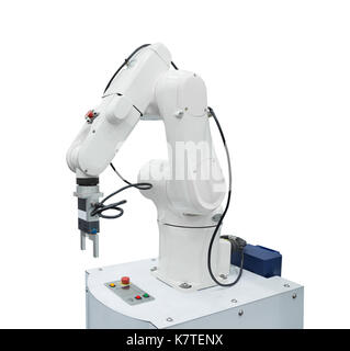 White industry robotic isolated on white background included clipping path - Stock Photo