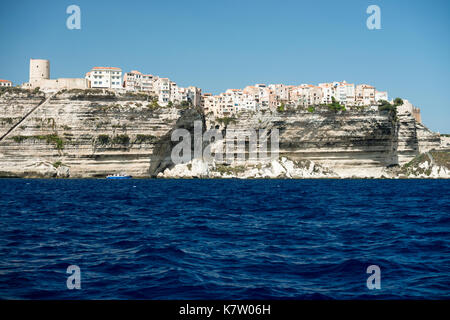 Panoramic view of Bonifacio city and cliffs, Corsica island, France - Stock Photo
