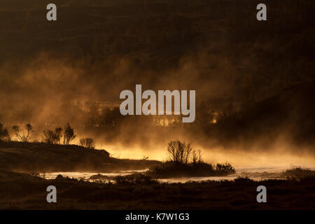 Golden mist on an autumn morning after a frosty night at the lake Heglingen, Dovre, Norway. - Stock Photo