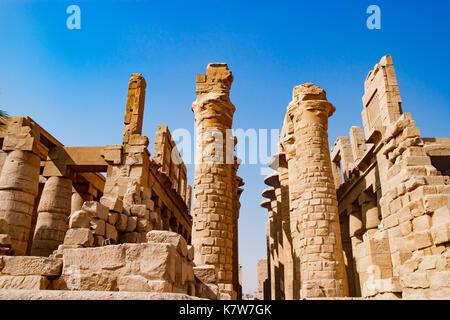 Egyptian hieroglyphic columns in Luxor, Egypt - Stock Photo