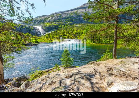 Nykkjesoyfossen falls in the Husedalen valley, near Kinsarvik at the Hardangerfjord, Norway, Scandinavia - Stock Photo