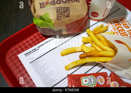 allergen information sheet on a tray with a burger king meal - Stock Photo
