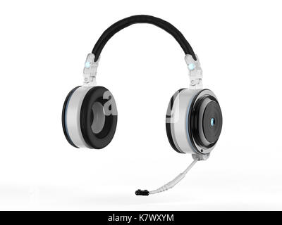 3d rendering headset or headphones with microphone on white background - Stock Photo