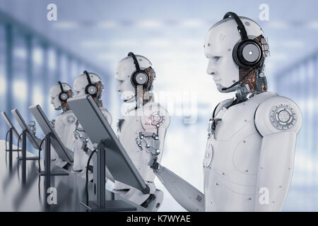 3d rendering humanoid robot working with headset and monitor - Stock Photo