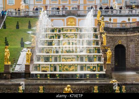 Peterhof, Russia - June 03. 2017. Fragment of Large cascade fountain in Peterhof - Stock Photo