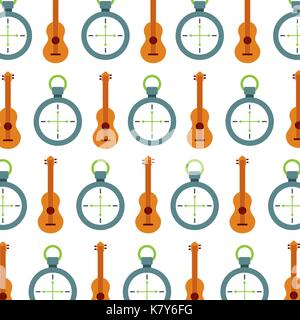 camping guitar and compass equipment seamless pattern image - Stock Photo