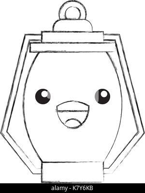 kawaii kerosene lamp camping cartoon - Stock Photo