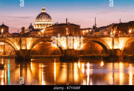 The Saint Peter's basilica in the evening, Rome, Italy. - Stock Photo