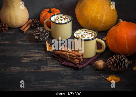 Hot Chocolate with Pumpkin Pie Spices over dark wooden background with copy space. Autumn still life. Thaksgiving - Stock Photo