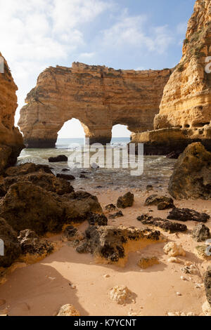 Lagoa, Portugal: Early morning at Praia da Marinha in the Algarve. - Stock Photo