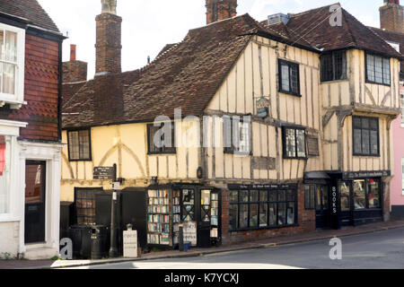 The Fifteenth Century Bookshop, on the corner of High Street and Keere Street in Lewes Sussex England - Stock Photo