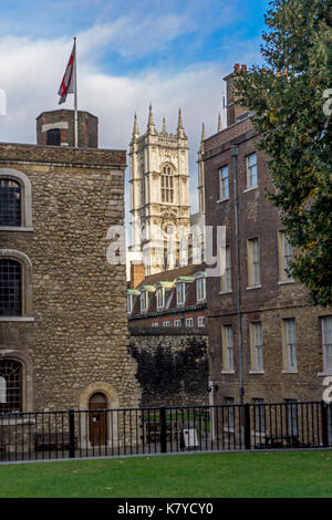 Westminster Abbey Tower Seen from Palace of Westminster - Stock Photo