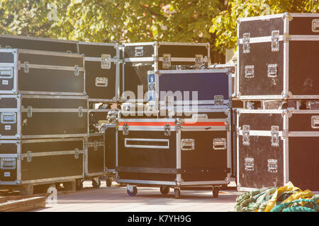 Boxes stage equipment - Stock Photo