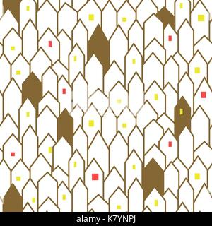 Gold and white abstract houses seamless vector pattern. - Stock Photo